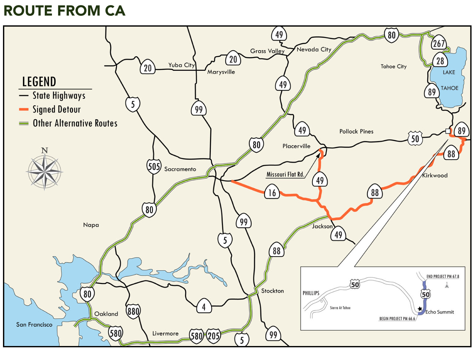 Caltran Traffic Map.Hwy 50 To Tahoe To Be Closed For 2 Weeks Road Warrior
