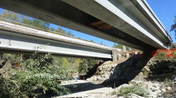 Traffic now travels on the new Porter Creek Bridge spans.