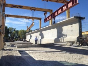 A 10-foot-wide concrete girder is shown at the Con-Fab California Corp. plant in Lathrop. (Caltrans)
