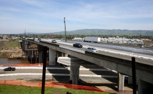Construction on the Petaluma River bridge in Petaluma. (Crista Jeremiason / The Press Democrat)