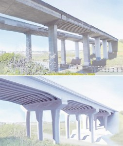 The old Petaluma River Bridge and a rendering of the new 907-foot-long six-lane span. (Illustration by Loren Doppenberg / For the Press Democrat / Caltrans image)