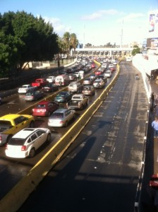 Cars waiting at the U.S./Mexico border.